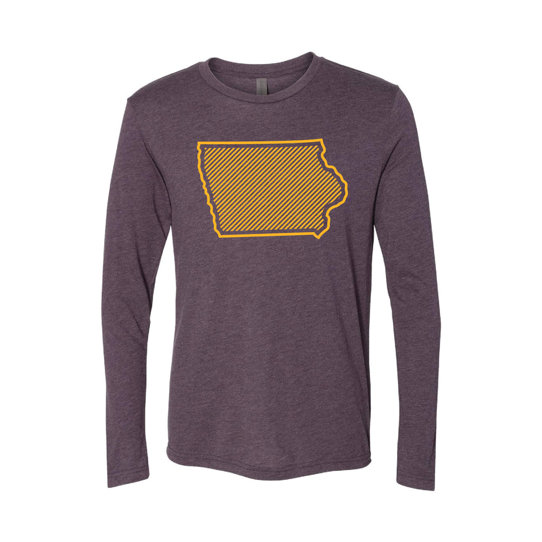 University of Northern Iowa Outline Themed Long Sleeve T-Shirt-XS-Purple-soft-and-spun-apparel