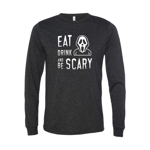 Eat Drink and Be Scary Long Sleeve T-Shirt-XS-Charcoal Black-soft-and-spun-apparel