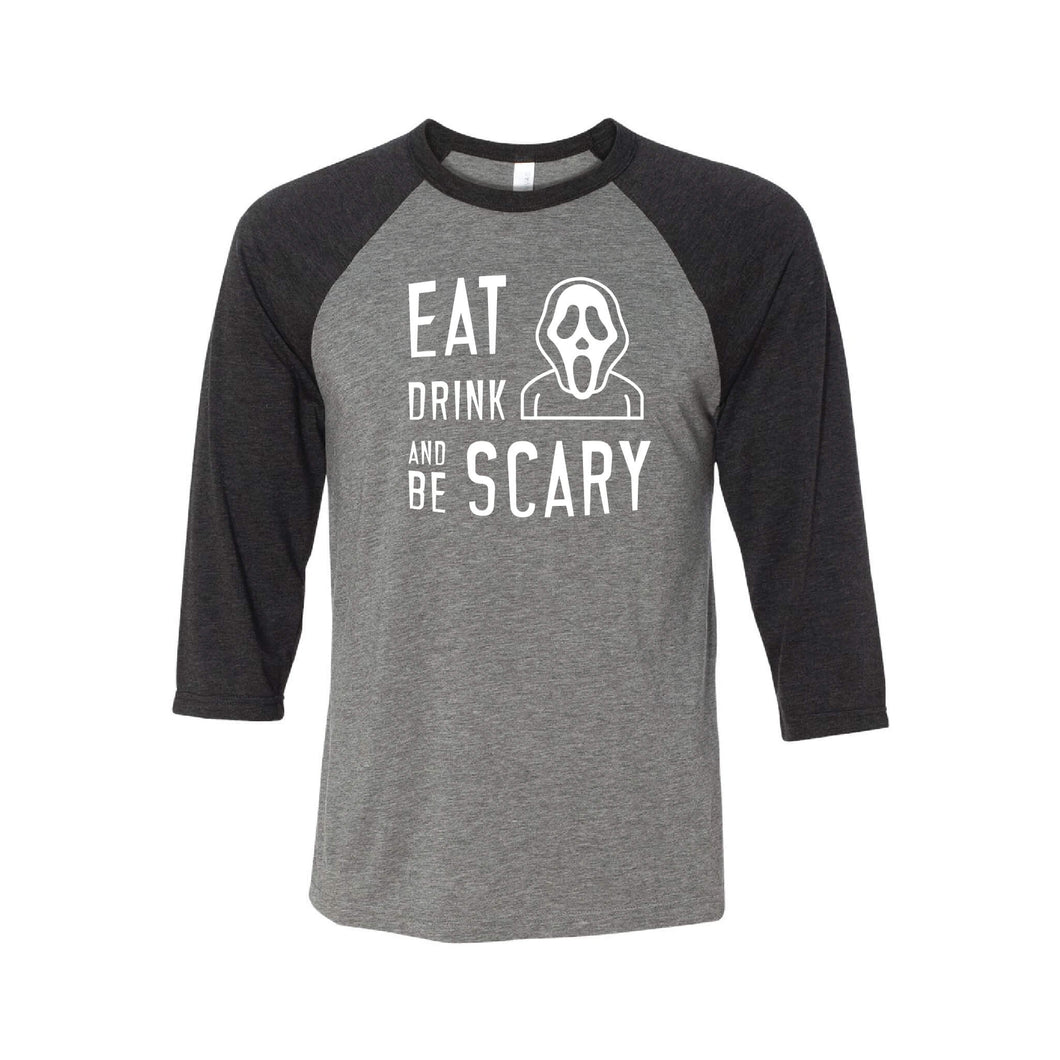 Eat Drink and Be Scary Raglan-XS-Grey Charcoal-soft-and-spun-apparel