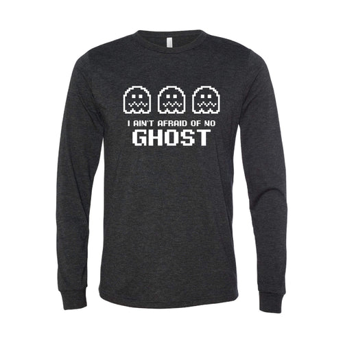 I Ain't Afraid of No Ghost Long Sleeve T-Shirt-XS-Charcoal Black-soft-and-spun-apparel