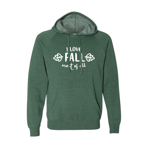 I Love Fall Most of All Pullover Hoodie-S-Moss-soft-and-spun-apparel