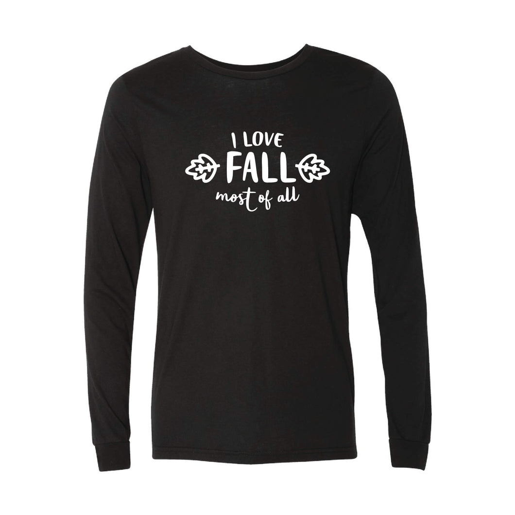 I Love Fall Most of All Long Sleeve T-Shirt-XS-Solid Black-soft-and-spun-apparel