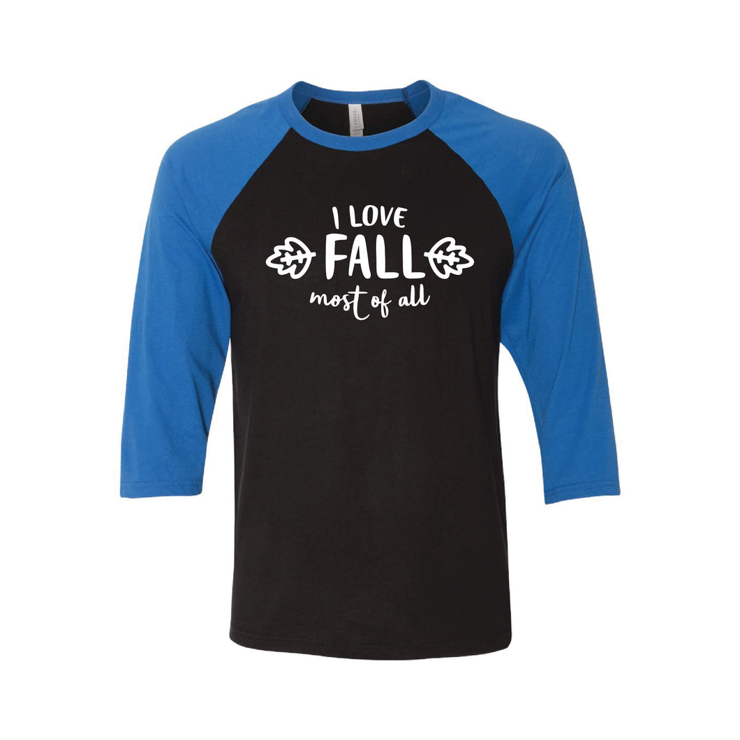 I Love Fall Most of All Raglan-XS-Black True Royal-soft-and-spun-apparel
