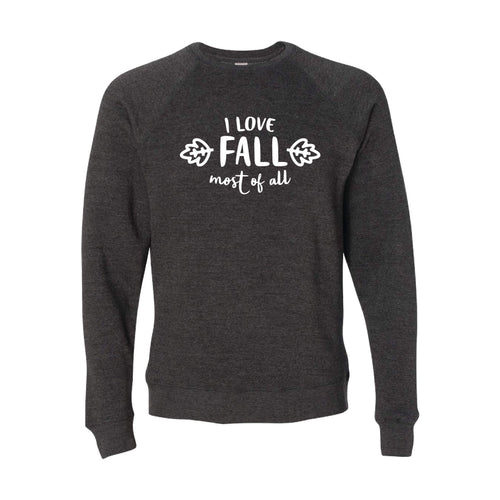 I Love Fall Most of All Crewneck Sweatshirt-S-Carbon-soft-and-spun-apparel
