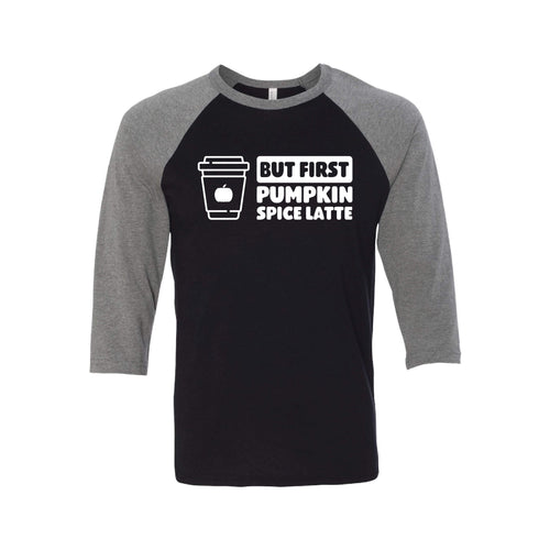 But First, Pumpkin Spice Latte Raglan-XS-Black Deep Heather-soft-and-spun-apparel