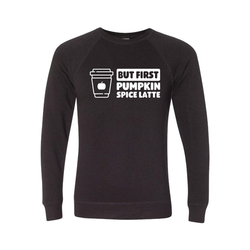 But First, Pumpkin Spice Latte Crewneck Sweatshirt-S-Black-soft-and-spun-apparel