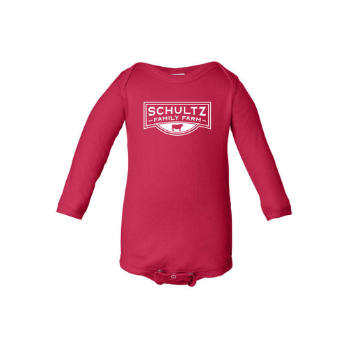 Schultz Family Farm Long Sleeve Onesie-NB-Red-soft-and-spun-apparel