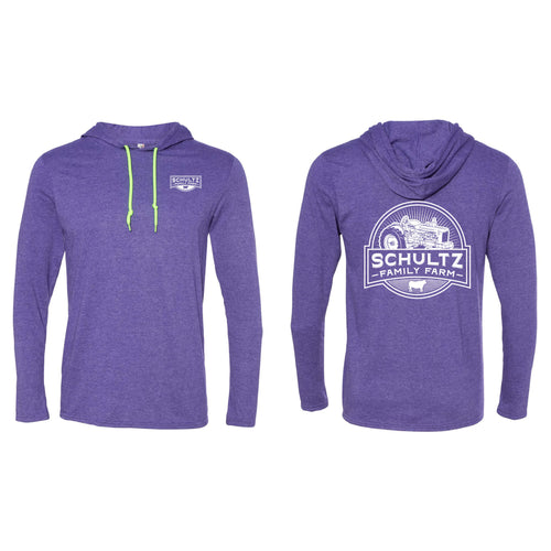 Schultz Family Farm Lightweight Hooded Long Sleeve T-Shirt-S-Heather Purple-soft-and-spun-apparel
