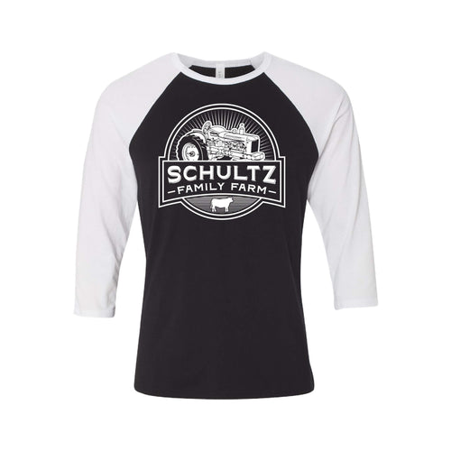 Schultz Family Farm Raglan-S-Black Body / White Sleeves-soft-and-spun-apparel