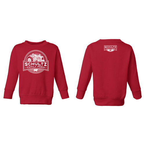 Schultz Family Farm Toddler Crewneck Sweatshirt-2T-Red-soft-and-spun-apparel