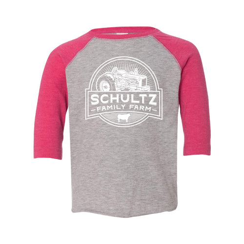 Schultz Family Farm Toddler Raglan-2T-Vintage Heather / Vintage Hot Pink-soft-and-spun-apparel
