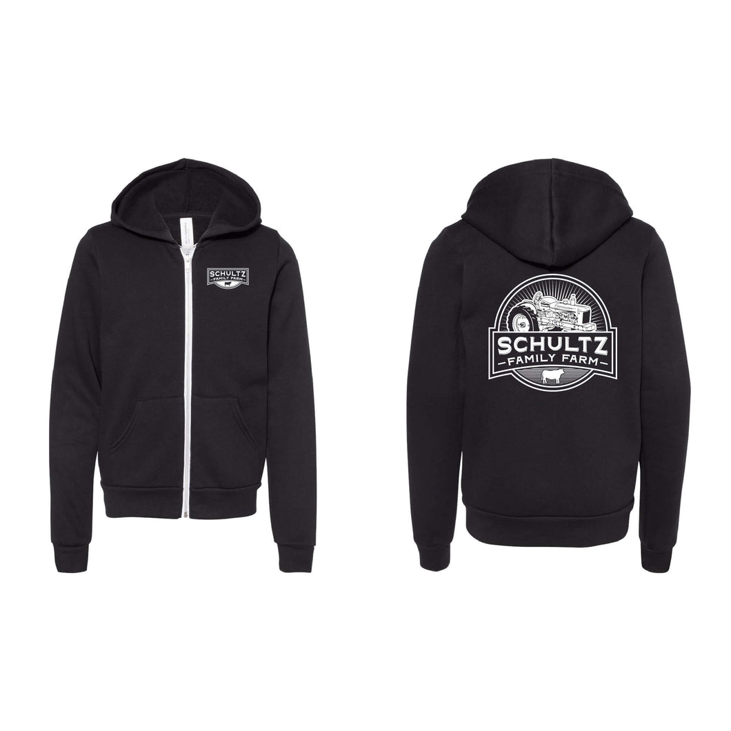 Schultz Family Farm Youth Full-Zip Hoodie-YTH-S-Black-soft-and-spun-apparel