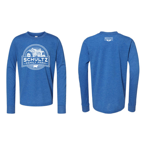 Schultz Family Farm Youth Long Sleeve T-Shirt-YTH-S-True Royal-soft-and-spun-apparel