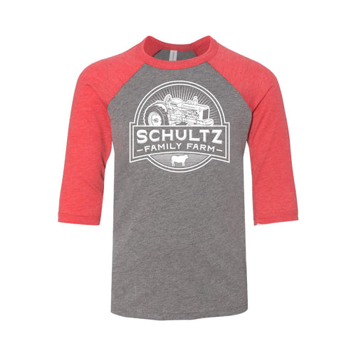 Schultz Family Farm Youth Raglan-YTH-S-Grey / Red-soft-and-spun-apparel