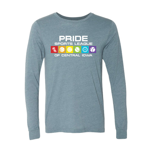 Pride Sports League Full Color Imprint Long Sleeve T-Shirt-XS-Heather Slate-soft-and-spun-apparel