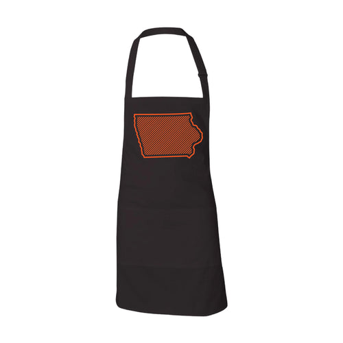 Orange Iowa Outline Apron-ONESIZE-Onyx Black-soft-and-spun-apparel
