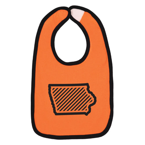Orange Iowa Outline Baby Bib-ONESIZE-Orange/Black-soft-and-spun-apparel