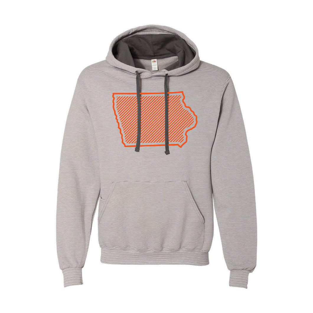 Orange Iowa Outline Pullover Hoodie-S-Grey Stripe-soft-and-spun-apparel
