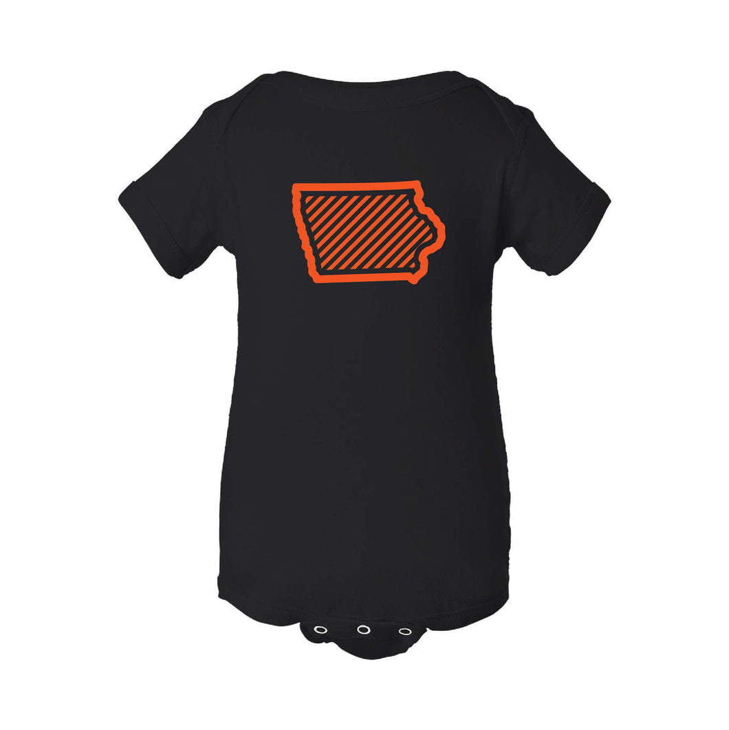 Orange Iowa Outline Onesie-NB-Black-soft-and-spun-apparel