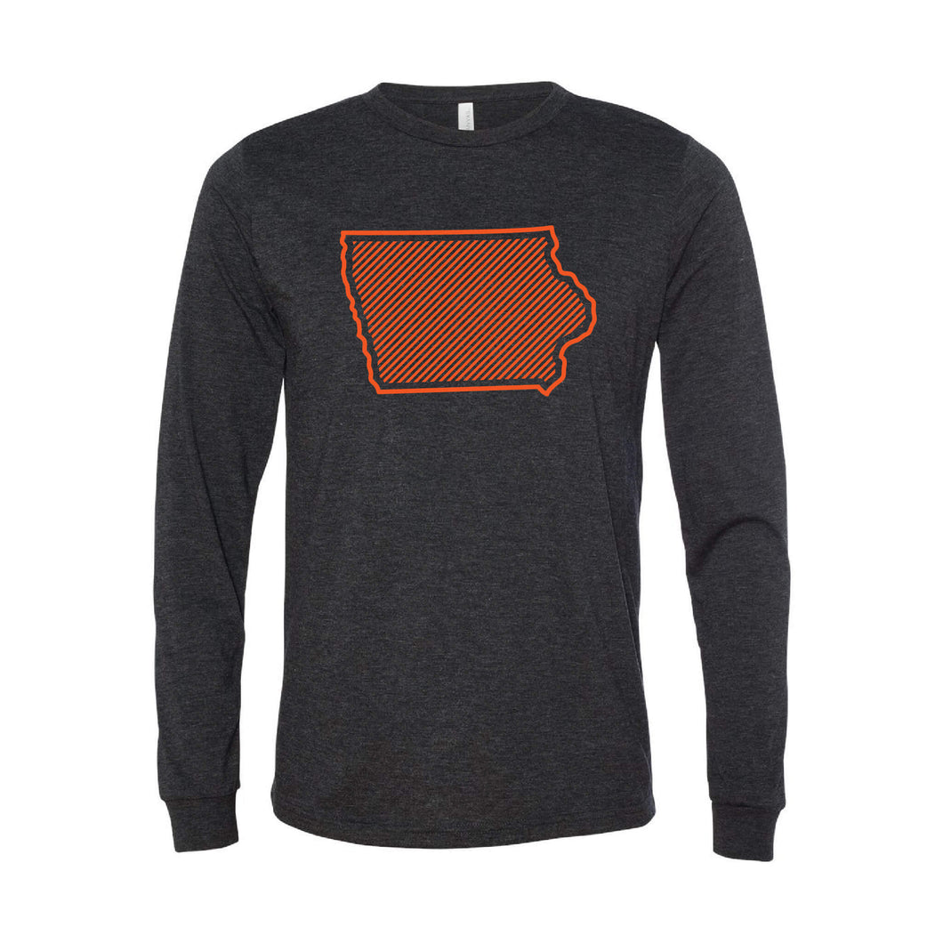 Orange Iowa Outline Long Sleeve T-Shirt-XS-Charcoal Black-soft-and-spun-apparel