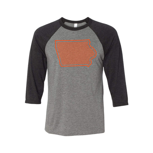 Orange Iowa Outline Raglan-XS-Grey Charcoal Black-soft-and-spun-apparel