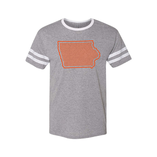 Orange Iowa Outline Ringer T-Shirt-S-Oxford / White-soft-and-spun-apparel
