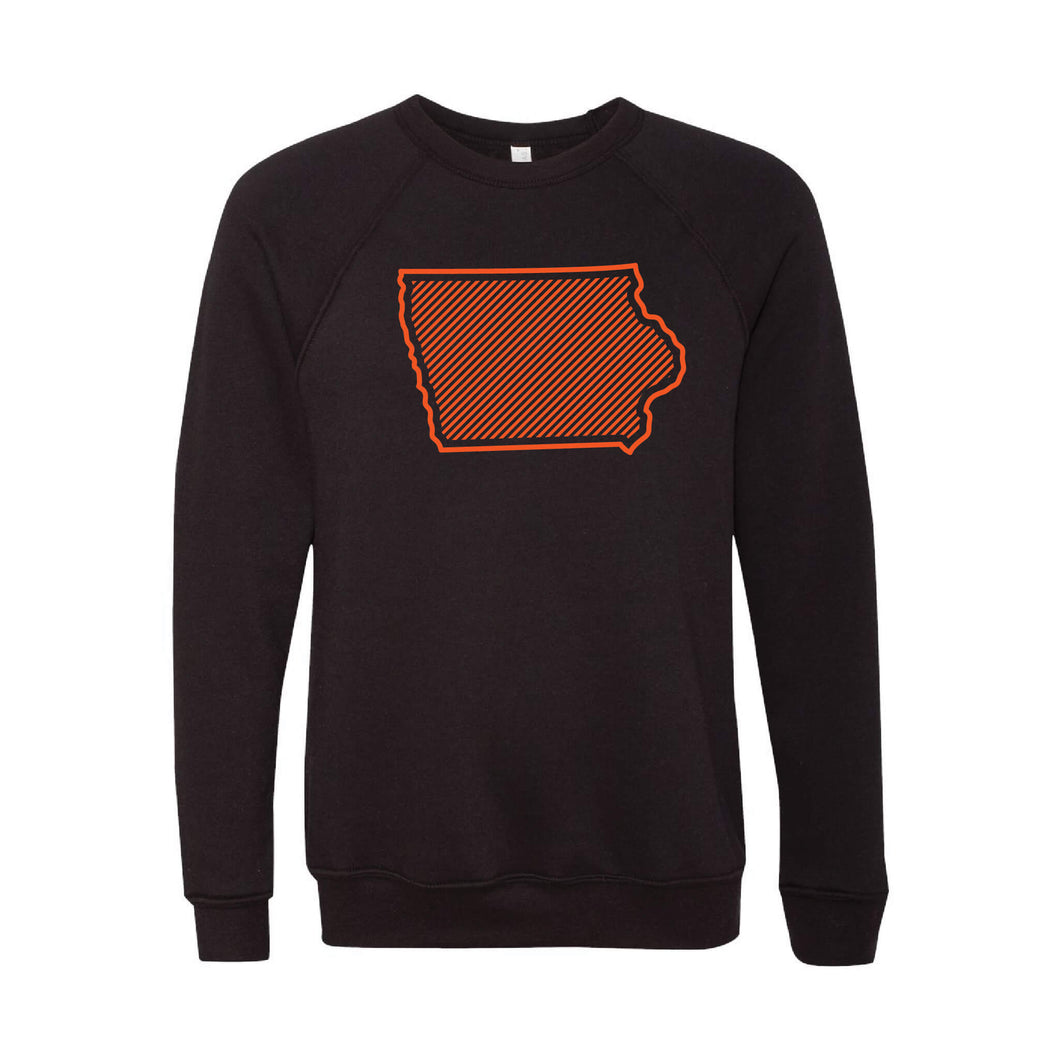 Orange Iowa Outline Crewneck Sweatshirt-XS-Black-soft-and-spun-apparel