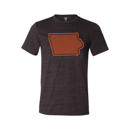 Orange Iowa Outline T-Shirt-XS-Charcoal Black-soft-and-spun-apparel