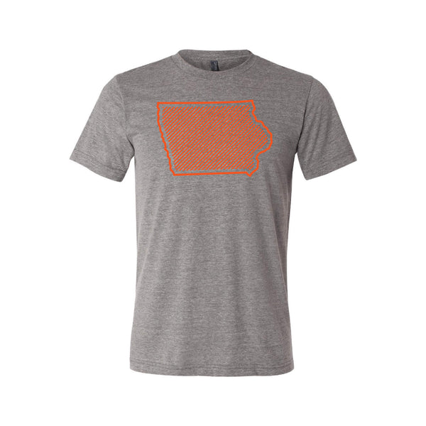 Orange Iowa Outline T-Shirt-XS-Grey-soft-and-spun-apparel