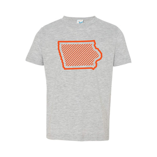 Orange Iowa Outline Toddler Tee-2T-Heather-soft-and-spun-apparel