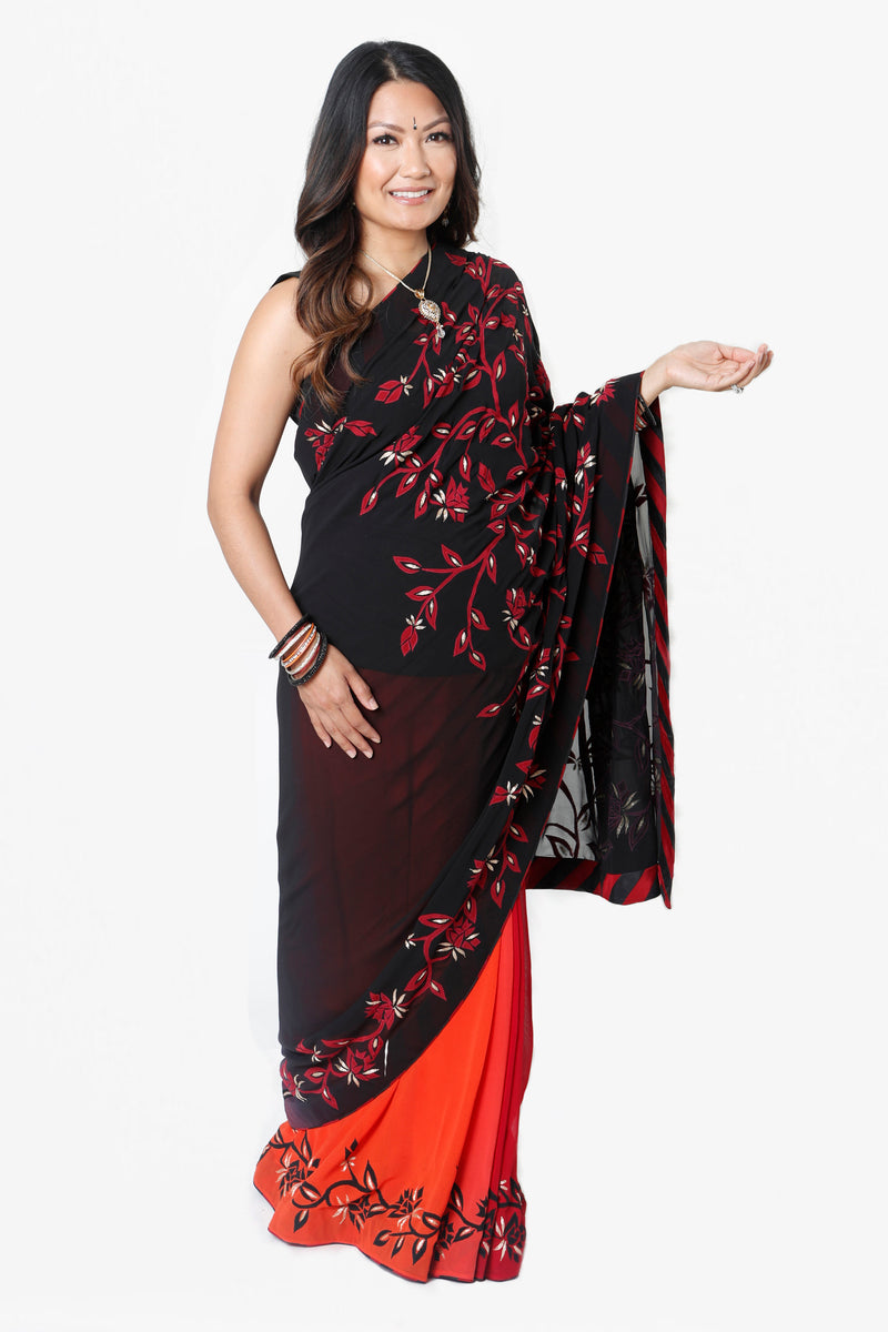 OMBRE GEORGETTE FULL BELLY PANEL MATERNITY SARI* & BLOUSE RENTAL