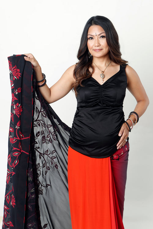 BLACK FULL LENGTH MATERNITY SARI BLOUSE