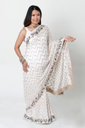 WHITE  FULL LENGTH MATERNITY SARI BLOUSE