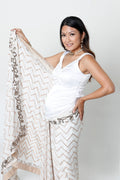 WHITE GEORGETTE FULL BELLY PANEL MATERNITY SARI*