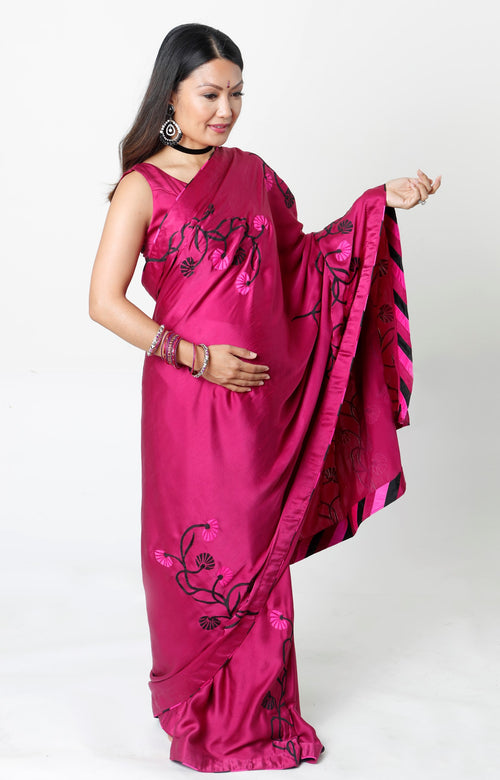 PLUM SATIN DEMI-PANEL MATERNITY SARI* & NURSING BLOUSE RENTAL