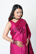 PLUM SATIN DEMI-PANEL MATERNITY SARI*
