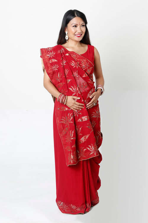 RED DEMI-PANEL MATERNITY SARI*