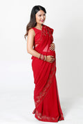 RED CHOLI STYLE PULL-UP NURSING SARI BLOUSE