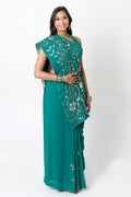 EMERALD GREEN TWO-STEP SARI* & HALTER NURSING BLOUSE