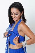 ROYAL BLUE TWO-STEP SARI* & HALTER NURSING BLOUSE