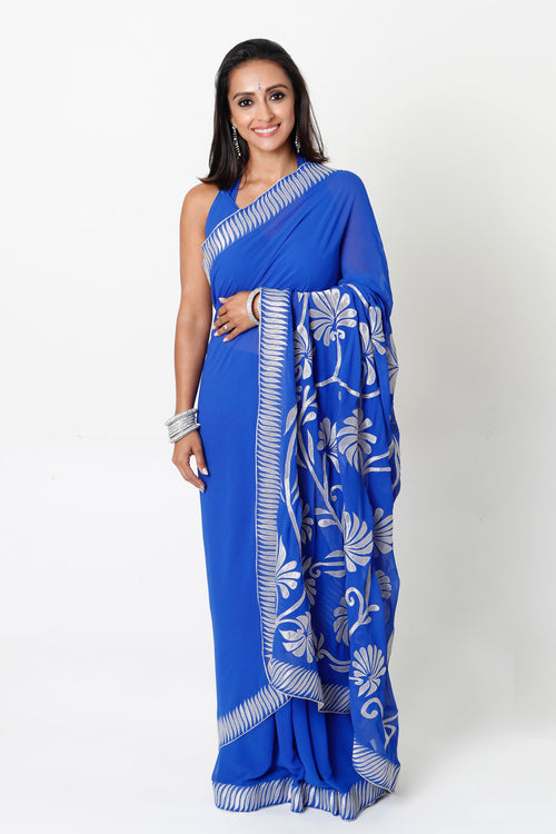 ROYAL BLUE TWO-STEP SARI*