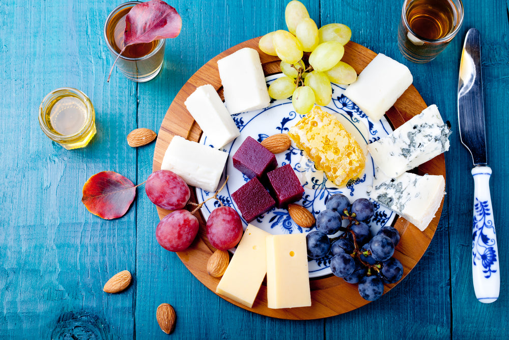 cheese and fruit make a perfect breakfast