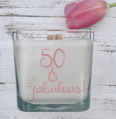 50th Birthday Gift Birthday Candle Fifty Birthday 50th Birthday quotes Personalized Candle Birthday Candle - TheShabbyWick