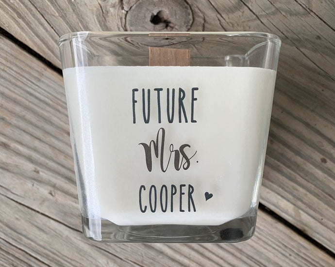 The Future Mrs Bride To Be Gift Bride To Be Candle Engagement Gift Engagement Candle Bridal Shower Gift Personalized Woodwick - TheShabbyWick