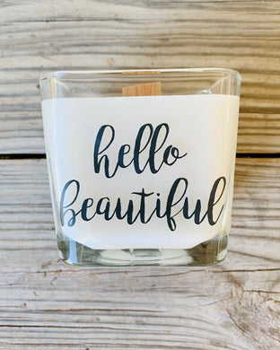 Gift for Friend Hello Beautiful Candle Friend Gift Girl Friend Gift Thinking Of You Gift Custom Candle friend gift guide - TheShabbyWick
