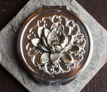 Silver lotus flower compact mirror delicate industry