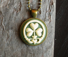 Irish clover cameo necklace