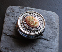 pink skeleton cameo pill box in silver delicate industry