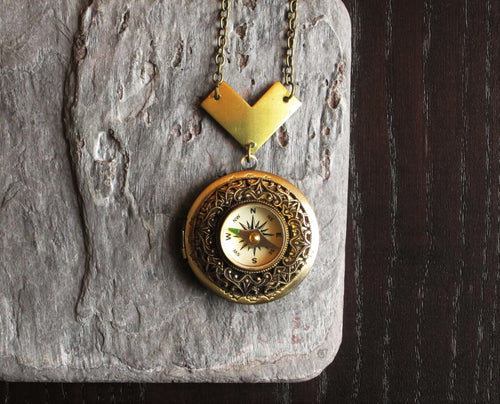 Working compass locket necklace