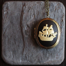 Pirate ship cameo locket necklace